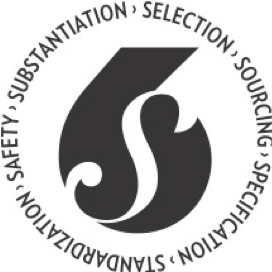 Selection, sourcing, specification, standardization, safety, substantiation logo