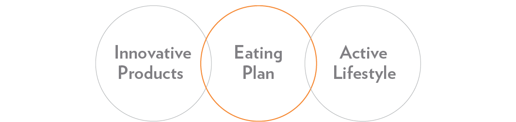 Diagram of Innovative Products + Eating Plan + Active Lifestyle