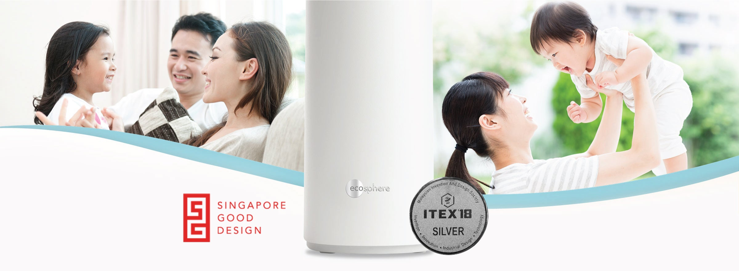 Photos of happy families in their homes with EcoSphere Water Purifier product photo in the center