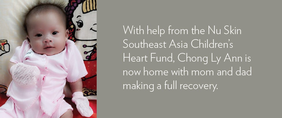 With the help of the Nu Skin Southeast Asia Children's Heart Fund, Chong Ly Ann is now home with mom and dad making a full recovery.