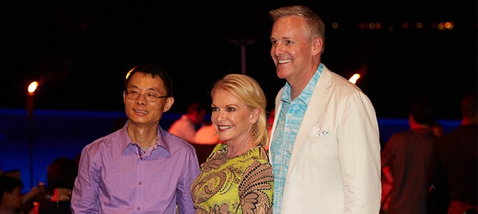 Nu Skin founder Sandie Tillotson and Tyler Whitehead meet with sales leaders