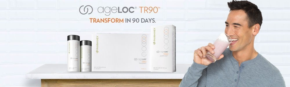 Photo of ageLOC TR90 products with excited woman