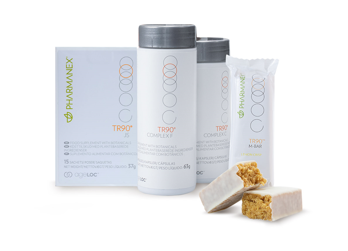 Pharmanex TR90 30-day weight management program products including TR90 M-Bar chocolate and lemon crisp flavour, Complex C, Complex F and JS.